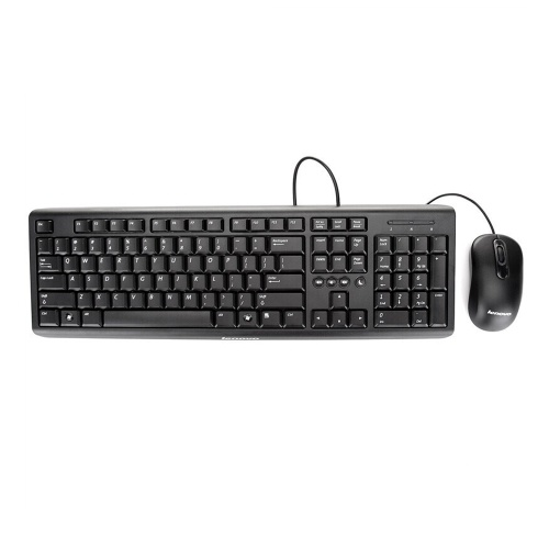 Lenovo KM4802A Wired Keyboard and Mouse Combo Low-Profile Ergonomic Desktop USB Mouse and Keyboard Combo with  Multimedia Keys 3-Buttons 1000DPI Optical Mouse for Home Office