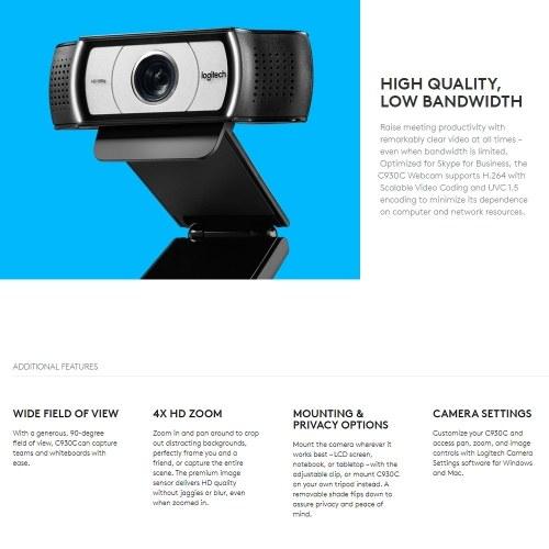 Logitech C930C Webcam 1080P H.264 Video Calling Computer Camera