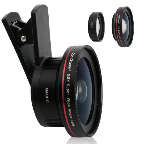 Zakitane Portable Camera Lens 0.5X super szeroki obiektyw 15X Macro obiektyw Clip-On obiektywy telefonów komórkowych dla iPhoneX Samsung S8 Android / iOS Telefon Tablet PC Notebook