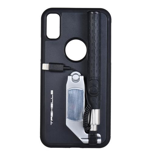 TASHELLS Pliable Selfie Bâton Téléphone Cas Pour iPhone X Portable Multifonctionnel Auto-bâton Téléphone Shell Anti-rayures Anti-choc