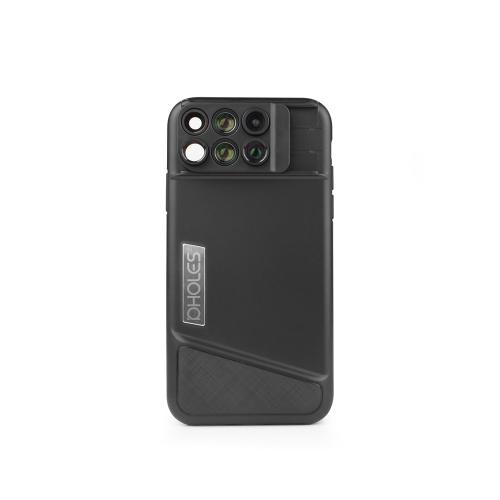 PHOLES X1 Étui à lentilles pour iPhone X Fisheye Téléobjectif à grand angle avec étui de protection pour téléphone TPU