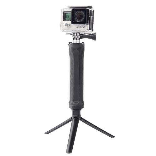 Go Pro Selfie Stick Водонепроницаемая 3-полосная выдвижная ручка для камеры Складная штатив Регулируемое крепление для Gopro Hero 5 6 4 SJ4000 Xiaomi