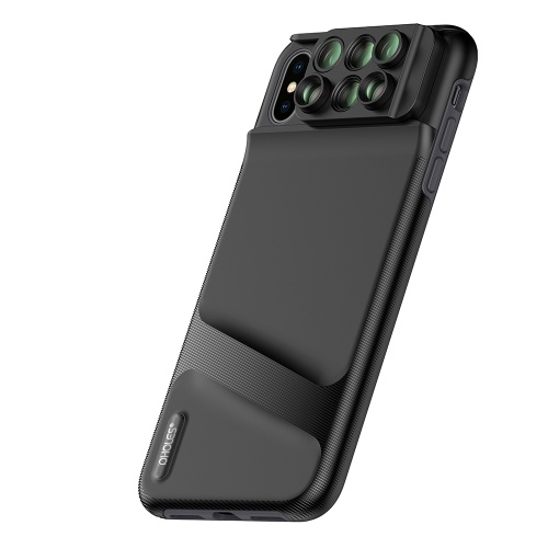PHOLES Dual-Camera-Lens-Handyhülle für iPhone XS Max 6 in 1 Fisheye-Weitwinkel-Makroobjektiv-Teleskop-Zoomobjektiv mit TPU-Schutzhülle