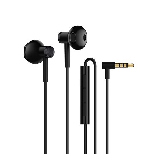 Original Xiaomi Dual-unit écouteurs demi-dans-oreille MEMS Microphone filaire contrôle casque Durable TPE Câble 3.5mm Jack Earbud pour Smartphone Tablet