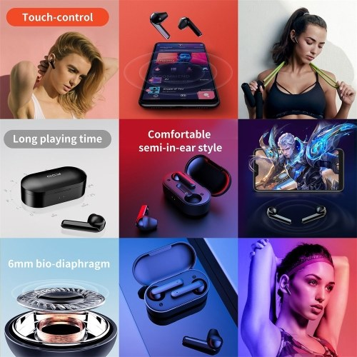Global Version Xiaomi QCY T3 BT Wireless TWS Earbuds BT 5.0 Touch Control True Wireless Earphones with Dual Mic Stereo Call Sports Headphones 3D Stereo Headset