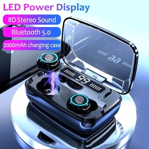 M11 TWS Беспроводные наушники BT V5.0 Беспроводные наушники Спорт HiFi Стереозвук Мини-вкладыши-вкладыши Сенсорное управление Светодиодный цифровой дисплей с наушниками Power Bank 2000 мАч с микрофоном