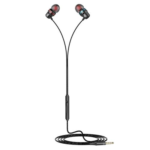 Bass-Ohrhörer mit kabelgebundenen In-Ear-Ohrhörern mit Kopfhörern mit Mikrofongeräuschunterdrückung