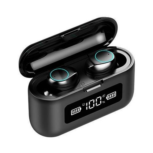 F9-281 Echte kabellose Ohrhörer (Blende) TWS-Kopfhörer BT 5.0 Stereo-Kopfhörer mit integrierter Mikrofon-Touch-Control-LED Digitalanzeige CVC-Geräuschunterdrückungstechnologie 2000-mAh-Powerbank-Gehäuse IPX7 Wasserdichte Sportkopfhörer für Sportgymnastikmusik