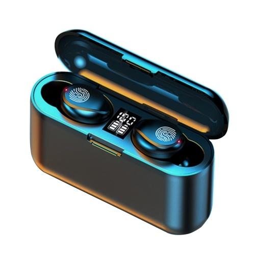 F9 mini True Wireless-Ohrhörer TWS-Stereo-Kopfhörer BT 5.0-Kopfhörer mit Touch-Steuerung 1200-mAh-Ladekoffer CVC8.0-Rauschunterdrückungstechnologie Eingebautes digitales LED-Power-Display-Headset für das Gaming Music Gym