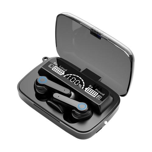 Fones de ouvido sem fio M19 TWS BT5.1 Controle de toque 3D com display digital LED IPX7 à prova d'água CVC 8.0 Fones de ouvido com redução de ruído com base de carregamento compatível com Andriod iOS Windows