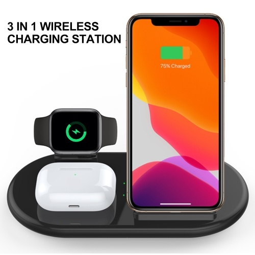 FD02 Wireless Charger 3 in 1 Fast Charging Station Compatible with Smart Phones Earphones Watch (ONLY Support iOS Watch) Wireless Quick Charge Dock for Phone Holder  (Max 15W)