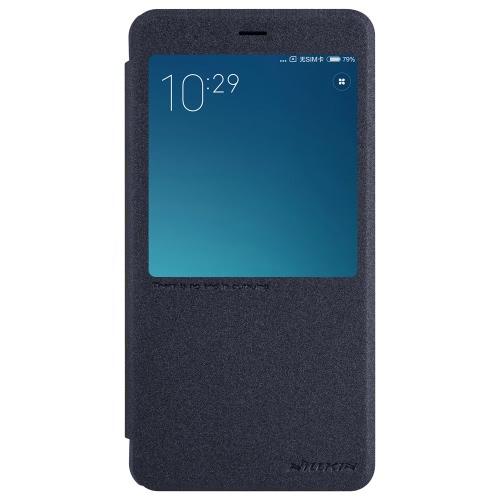 小米科技Redmi注4用の携帯電話のカバーをスタンドウィンドウ表示でNILLKINエレガントなフリップカバーシェルPUレザー保護ケースブックフリップ