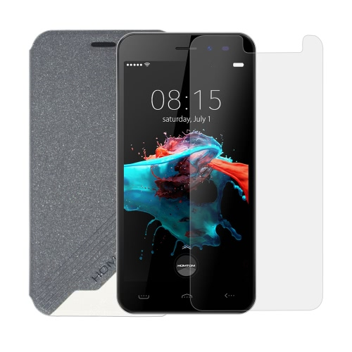 Leather Phone Case Flip Cover Shell Tempered Glass Phone Screen Protector 2 in 1 Gift Pack for HOMTOM HT16