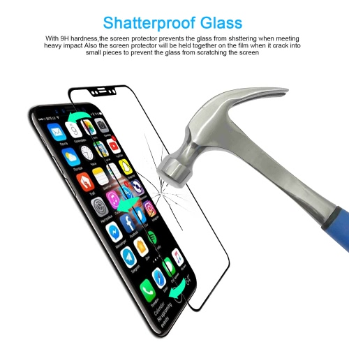 Real 3D Curved Edge 9H HD Screen Protector Film Full Cover Tempered Glass Explosion Proof Clear for iPhone X Smartphone