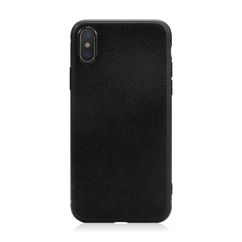 FSHANG Luxo Litchi Grain Soft TPU Phone Case Back Shell Cover para Apple iPhone X Case com Pacote de Varejo