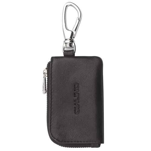 QIALINO Mini saco de proteção de couro genuíno para Airpods Cabo de carga de fone de ouvido estojo de armazenamento com zíper portátil