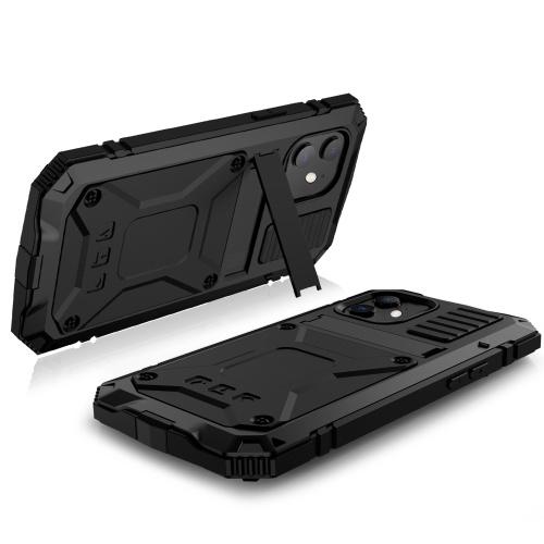Hochleistungs-Telefonabdeckung Metallgehäuse Stoßfestes Anti-Drop-Handygehäuse Ersatz für iPhone 12 Mini Schwarz