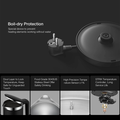 Global Xiaomi VIOMI Constant Temperature Electric Kettle Pro YM-K1503 1.5L 1800W Stainless Steel OLED Display Smart Fast Boiling Thermal Water Kettle