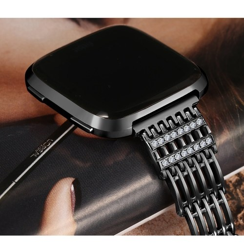 SDXHJ017 Watch Bracelet Fitbit Strap Fashion Metal Link Bracelet Wristband Replacement for Fitbit Versa with Rhinestones
