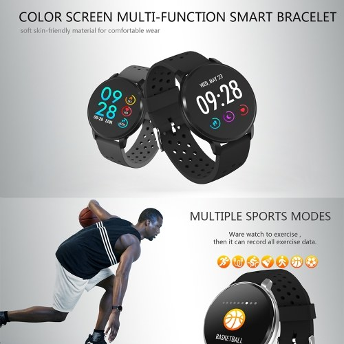 SN11 Smart Watch 1.3-inch IPS-LCD Touchscreen IP67 Waterproof Heart Rate Sleep Blood Pressure Monitor Activity Fitness Tracker Pedometer Sedentary Reminder Remote Camera Music Control Sports Smartwatch with Silicone Strap Band Compatible with Android iOS