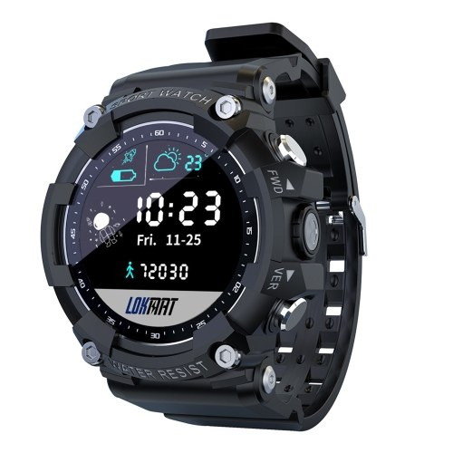 LOKMAT ATTACK 2 Smart Sports Watch 1.28-Inch TFT Full-Touch Screen BT5.1 IP68 Waterproof 10 Professional Sports Modes Fitness Tracker Sleep/Heart Rate/Blood Pressure Monitor Notification/Call/Sedentary Reminder Remote Camera/Music Control Compatible with Android iOS