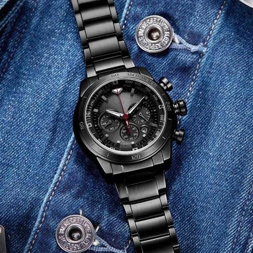 TwentySeventeen Solar Watch Men Stainless Steel Analog 48mm Calendar Sapphire Mirror Luminous Mens W
