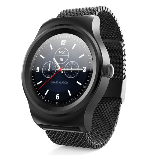 SAM-R Full Round Screen Smart Watch 1.3inch IPS Capacitive Multi-touch Panel Screen Display MTK2502C-ARM7 Chip 64MB+128MB Memory BT4.0LE+EDR3.0 300mAh Battery Heart Rate Monitor Pedometer Sleep Monitor BT Call Anti-lost Smartwatch for iPhone  Android