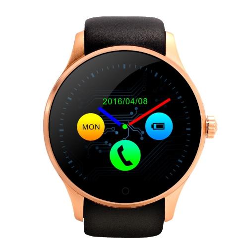 K88S スマート Bluetooth の腕時計の電話 2 G GSM 1.22「IPS 全景画面 240 * 204pixel MTK2502C 128 + 64 MB 300 mah バッテリー ラウンド BT4.0 腕時計心拍睡眠モニター歩数計リモート カメラ制御スマート モーニング Anti-lost スマートウォッチ iOS Android スマート フォン用