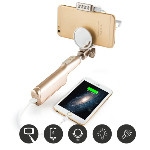 Mlais 2-in-1 Portable Extendable Cable Selfie Handheld Monopod Stick Holder + 3200mAh Power Bank with Mirror Flasher for iPhone 6 6 Plus 6S 6S Plus Samsung Smartphone PA3320G