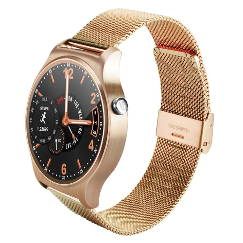 GW01 Smart Watch 1.3inch Full Round IPS HD LCDScreen 240*240px MTK2502A CPU 64MB+128MB Memory BT4.0 360mAh Battery Heart Rate Sleep Monitor Bluetooth Phone Siri Btuetooth Push Anti-lost Smartwatch for iPhone iOS Android Devices