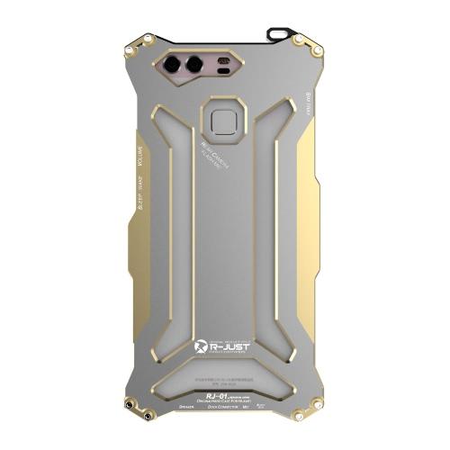 R-JUST Durable Caso Capa protetora de aço inoxidável do metal para o Huawei P9 Smartphone