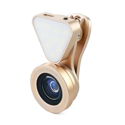 LIEQI LQ-035 3 em 1 Clip-on Optical Glass Lens HD 0,4X-0,6x lente grande angular 15X Macro-lens com lanterna recarregável para iPhone 7 7 Plus 6 Plus 6S Além disso iPad mini-Air Samsung Nota 7 S6 S7 S7 Smartphone borda Comprimido