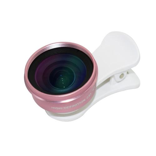 HD 0.6X Широкоугольный объектив Высокое разрешение 120 ° Нет искажения Внешний объектив камеры сотового телефона Clip-on для большинства смартфонов