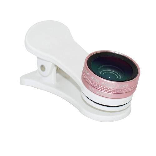 Lente grande angular 0,65X 0,65 polegadas Conjunto de objectiva macro de 105 ° e 15X Conjunto de lente de grampo externo para câmera de telefone celular para smartphones
