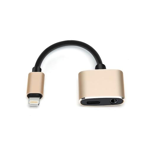Atendimento telefônico de controle de fio de carga de áudio com um adaptador multifuncional de par de iluminação para IPhone 7 / 7P