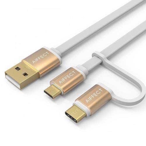 AIFFECT 3.3Ft USB 2.0 para Micro USB / Tipo C Cabo de carga Cabo de linha de dados de sincronização para Samsung 2-em-1