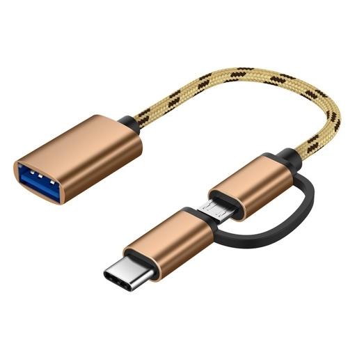2-in-1-USB-OTG-Kabel Typ-C / Micro-USB-zu-USB-3.0-Adapter Geflochtenes Datenübertragungskabel Kompatibel mit Andriod Phone