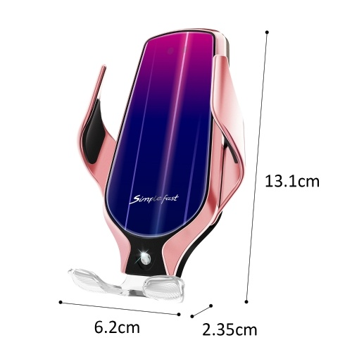 R9 Smart Sensor Wireless Car Charger Auto-Induction Auto Clamp Clamping Type-C Wireless Charging Car Phone Charger Mount with Luminous Charging Cable Air Outlet Holder Compatible with iPhone Samsung HUAWEI and Wireless Charge Supported Smartphones