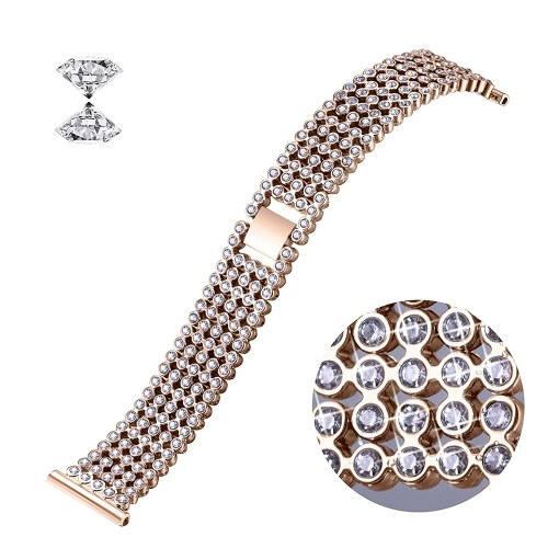 SDXHJ016 Watch Bracelet Fitbit Strap Classic Link Bracelet Wristband Replacement for Fitbit Versa with Rhinestones