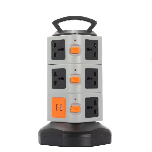 KKmoon JW Vertical Multi-Socket 3 Layers with 11 Outlets and 2 Ports 2.1A USB Smart Power Sockets Multi Protection Save Space for iPhone 6S 6 plus Samsung S7 S6 edge iOS Android Smartphones Tablet PC TV Refrigerator or Other Electronic Devices