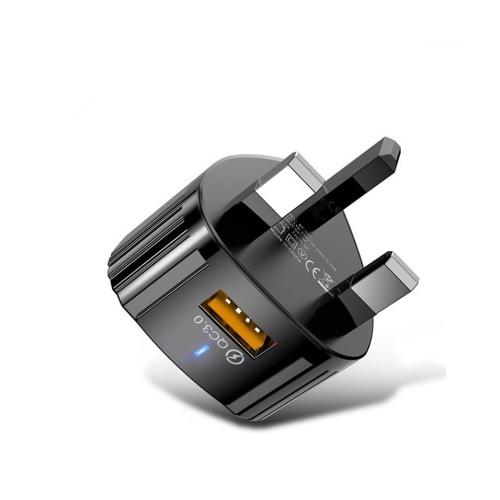 Schnellladung 3.0 USB-Wandladegerät Handy-Ladegerät-Adapter Schnellladung Kompatibel mit iPhone, Huawei, Xiaomi, Samsung und VIVO UK Plug Black