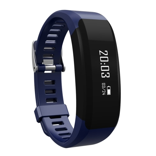 H28 Smart Sport Fitness Bracelet Tracker 0.86inch OLED Screen Display DA14580 Chip BLE4.0 50mAh Battery Intelligent Sports Band Pedometer Calories Heart Rate Sleep Monitor Call Reminder Camera/Music Control Wrist Band for iPhone 6 6S Plus Samsung S6 S7 Plus Smartphones iOS Android Devices