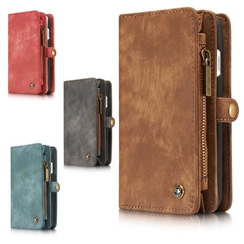 CaseMe 2 en 1 Zipper la cartera caja del teléfono de la PU de cuero protectora Shell desmontable en folio, Flip Funda Llevar titular de la tarjeta para el iPhone 7 Plus 5.5inch