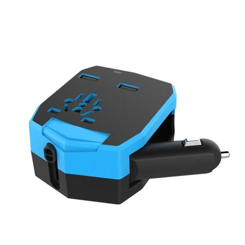 Universal International All in One Armor World Travel Adapter com carregador de carro 2.5A Dual USB Ports para US AU UK EU Plug Socket Power Converter