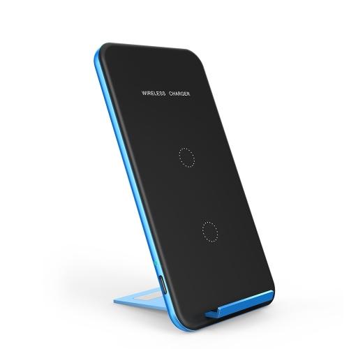 INCHOR Carregador portátil ultra-fino Qi sem fio Carregamento rápido Suporte de carga de telefone universal Suporte de suporte de carga Bobinas duplas incorporadas para Samsung Galaxy S8 / S8 + / S7 / S7 Edge / S6 Edge + / Nota 5 / Nota 7 / Nota 8 ou para iPhone X / 8/8 Plus e outros smartphones habilitados para Qi