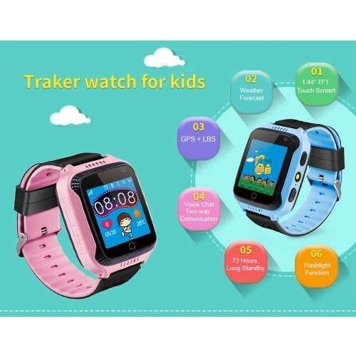 """Kids Smart Watch Phone for Children Girls Boys 1.44"""" TFT Touch Screen GPS Locator Tracker Built-in Camera Flashlight Smartwatch with SIM Card Slot Remote Voice Monitoring Calls SOS Alarm Suitable for iOS Android Smartphones thumbnail"""