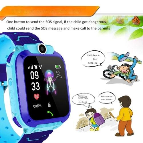 Часы безопасности детей IP67 Водонепроницаемый сенсорный LBS позиционирования SOS Анти-потерянный для IOS Android Voice Chat