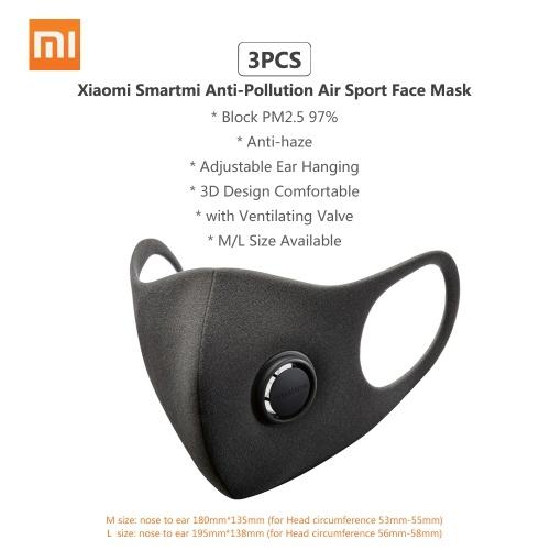 3PCS Xiaomi Smartmi Anti-Pollution Air Sport Face Mask Block Respirators PM2.5 Haze Anti-haze Adjustable Ear Hanging 3D Design Comfortable with Ventilating Valve