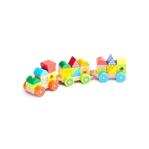 BEVA 25pcs天然木列車ビルディングブロックおもちゃ