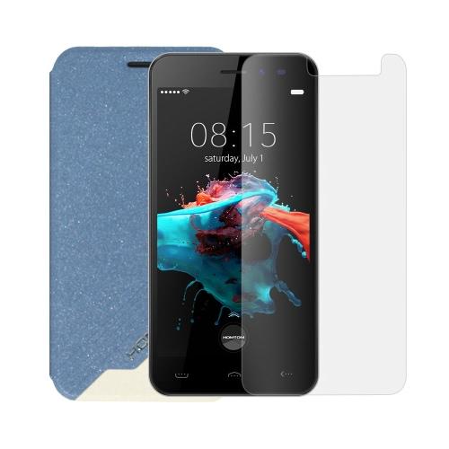 Caixa de telefone de couro Flip Cover Shell Protetor de tela de vidro Tempered Glass 2 em 1 Gift Pack para HOMTOM HT16
